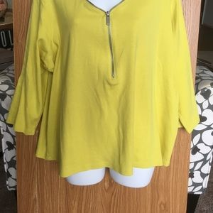 YELLOW SOFT TOP WITH DECORATIVE ZIPPER